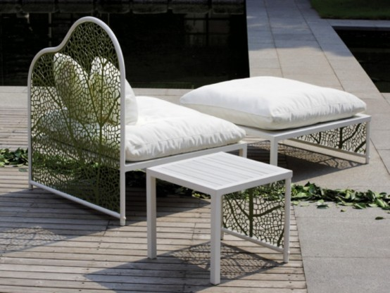 Romantic Garden Furniture And Refined Design: Romantic Garden Furniture And Refined Design With Lazy Chair Furniture With Whie Wooden Tea Table Also Expose Laminated Wood Floor Design