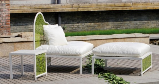 Romantic Garden Furniture And Refined Design: Romantic Garden Furniture And Refined Design With Surprising Garden Furniture By The Pool With Expose Brick Wall Decoration