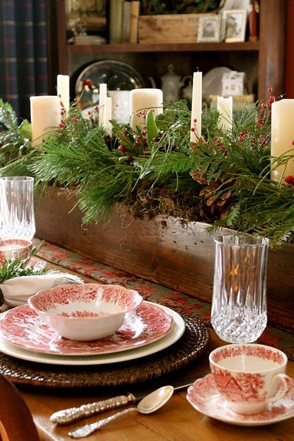 Festive Christmas Decorations For An Adult: Romantic Rustic Christmas Table Setting Luscious White Flower Blooms On A Wooden Box As Center Piece Candles Tall Clear Greenish Bottles In Crates1 ~ stevenwardhair.com Chairs Inspiration
