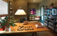 Old Fashion Captivating Home Office Design Ideas : Romantic Stylish And Dramatic Masculine Home Offices With Its Serene Atmosphere And Gorgeous Colours And Big Wood Laminated Table With Simple Bookshelves