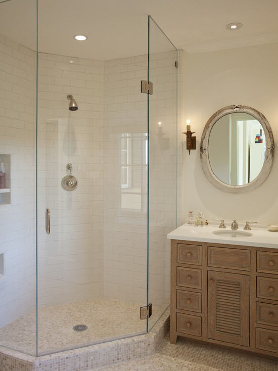 Terrific Frameless and Glass Corner Shower Doors: Rustic Bathroom With Corner Shower Door Glass ~ stevenwardhair.com Bathroom Design Inspiration