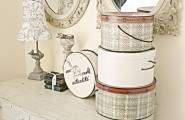 Cozy Small Dresser With Mirror : Rustic Bedroom With The Hatboxes On The Dresser Knobs And Mirror