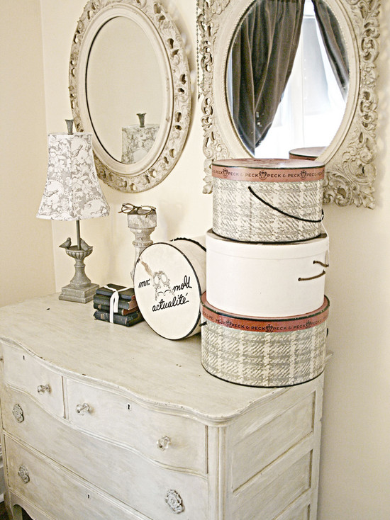 Cozy Small Dresser With Mirror: Rustic Bedroom With The Hatboxes On The Dresser Knobs And Mirror