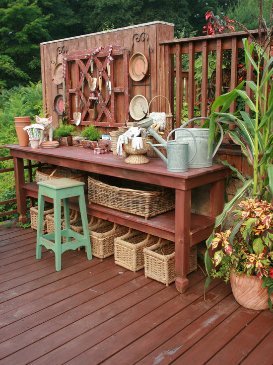 Stunning Beer Garden Table and Bench : Rustic Deck Table And Storage At Herb Garden Blonde And Natural Brown With A Simple Bench Outdoors