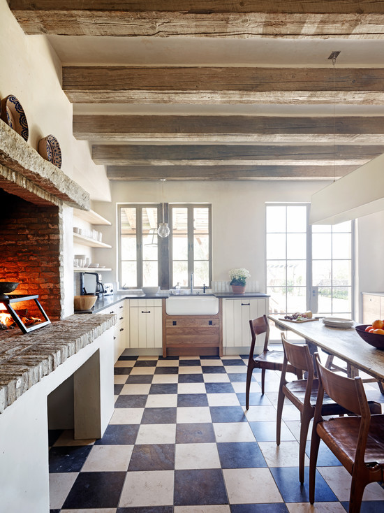 Eat In Kitchen Table Designs: Rustic Eat In Kitchen With Cooking Fireplace Darker Tiles And Long Narrow Tables ~ stevenwardhair.com Kitchen Designs Inspiration