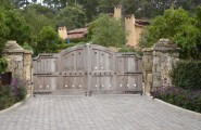 Excellent Solid Outdoor Wood Gates Designs : Rustic Exterior Outdoor Wood Gate