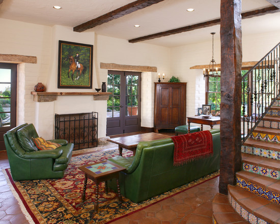 Floor Tiles Stairs Design Ideas : Rustic Family Room Green Sofa And Arm Chair Traditional Carpet And Pattern Floor Tiles Stairs