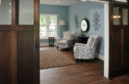 Interesting Floor Noise Reduction : Rustic Home Office With Reclaimed Oak Floor In Random Custom Stained And Has A Satin Finish On It For Noise Reduction
