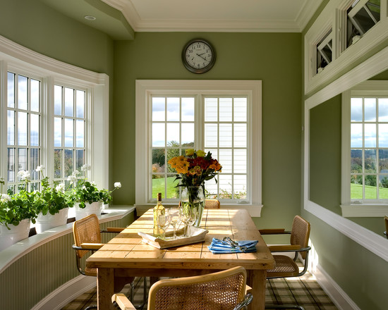 Apply The Color Sage Green For Your Home Design: Rustic Kitchen Wood Table Windowsill Wainscoting Ball Sage Green Wall