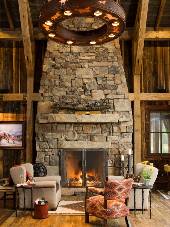 Various Fireplace And Firebox Designs: Rustic Living Room Slab Over Firebox Stones Stick Out On Face For Small Stepped Shelves ~ stevenwardhair.com Fireplace Inspiration