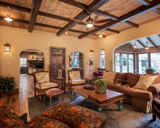 Excellent Faux Wood Ceiling Beams And Planks : Rustic Living Room With Antique Oak Flooring Plus Appalachian Woods And Natural Color With Clear Finish