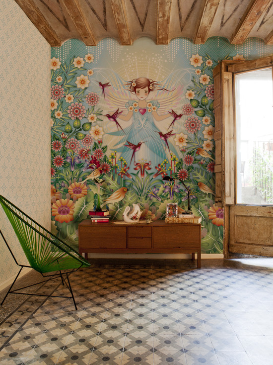 Beautiful Wall Murals For Living Room : Rustic Living Room With Beautiful Wall Mural For Reading Nook Fantasy Jungle With The Bright Leaf Green Acapulco Chair Ups The Tropical Vibe