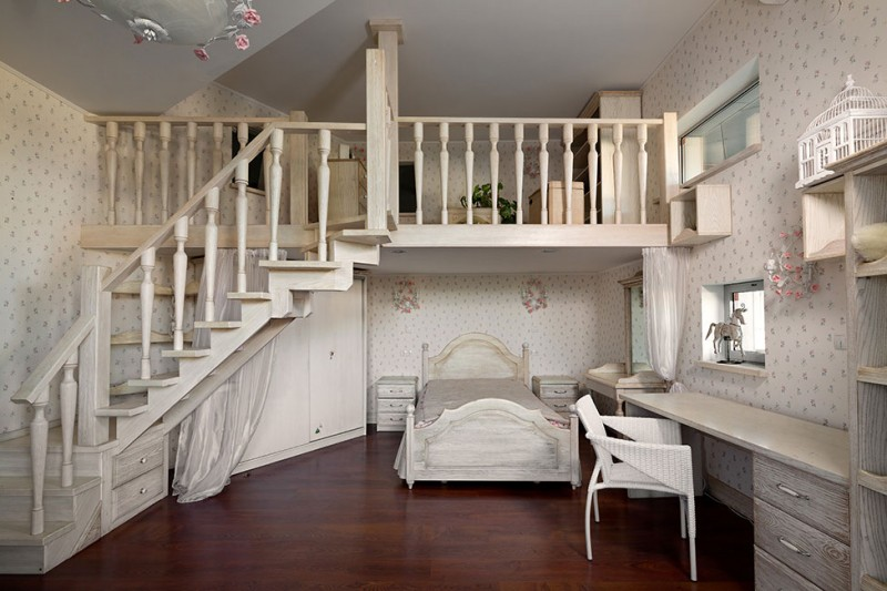 The Most Convenient Living Home Design For family : Rustic Wood Mezzanine Stylish Wallpaper Classic Bed With Enchanting Remarkable Floor Design Ideas And Vintage Study Table