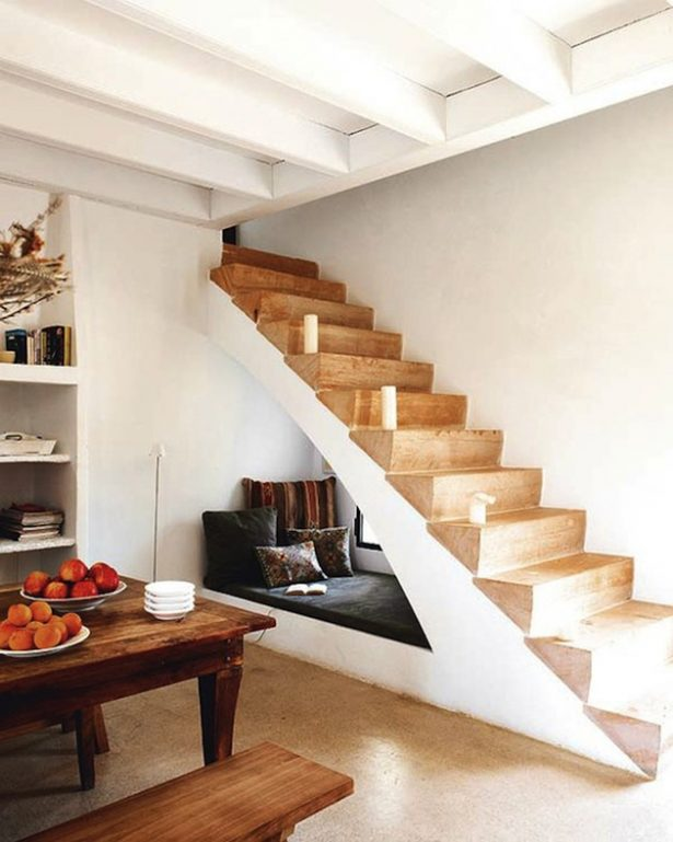 Rustic Wood Table Long Bench Under Stair Storage With Interesting Nice Laminated Wooden Stair Steps Design And Tribal Sofa Cushions