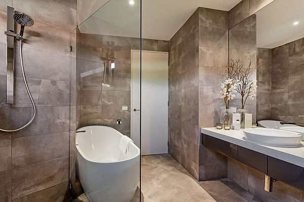 Setting Incredible Modern House Design Based On Architectural Ideas : Setting Incredible Modern House Design Based On Architectural Ideas Stylish Bathroom Decor Glass Divider Nice Shower And Marble Wall Design