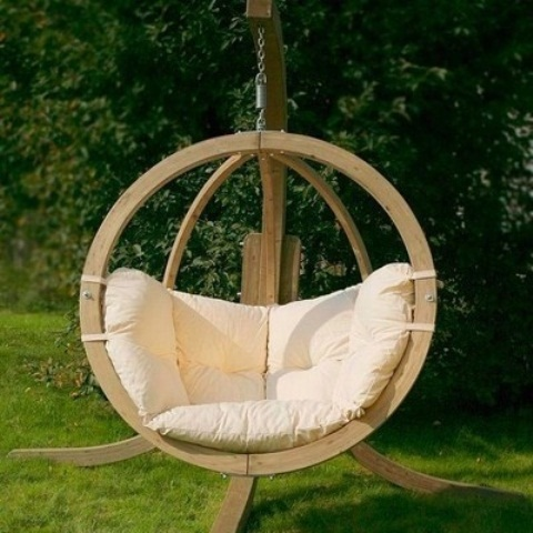 Unbelievably Relaxing Piece Of Furniture Hanging Chair : Simple Cool Close To Nature Outdoor Hanging Chair Circle Shaped With Wooden Beams And Soft Broken White Plain Cushion