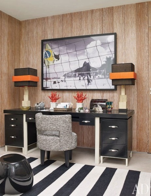 Italian Stylish Home Office Design Ideas : Simple Italian Design Home Office Stylish With Small Offices With Standing Modist Work Station Lamp With Big Picture Wall And Inspiring Black And White Fur Rug With Laminated Wall