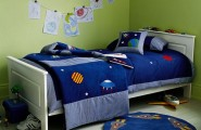 Cool Ways To Decorate A Room : Simple Space Inspired Boys Room With Wooden Bed