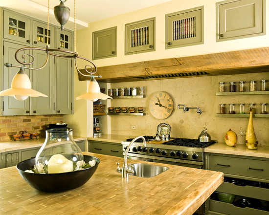 Beautiful Light Green Color For Kitchen Cabinets: Simplifying Traditional Kitchen Brick Backsplash Over The Stove Light Green Cabinets