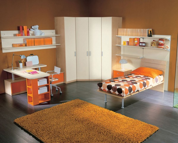 Decorating Ideas: Cool Room For Teenagers : Simply Orange Scheme Teenage Bedroom Interior Design With White Corner Closet Beetwen Bookshelf With Orage Rug On Gray Wooden Flooring Ideas