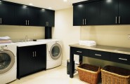 Interesting Laundry Room Folding Tables : Sink And Folding Station With Room At Contemporary Laundry Room And Black Glossy Cabinet