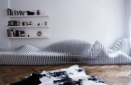 All Kind Of Most Creative And Unique Sofa Design : Sitscape Is Seating Zone With A Length Of Six Meters That Made From White Leather Upholstery And Laminated Wood With White Finish For The Sections And Polished Aluminium Connections