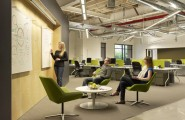 Unique Office Interior Design Ideas To Promote Working Mood : Skype Office Interiors With Great Flooring Design Ideas And Brainstorming Green Chairs
