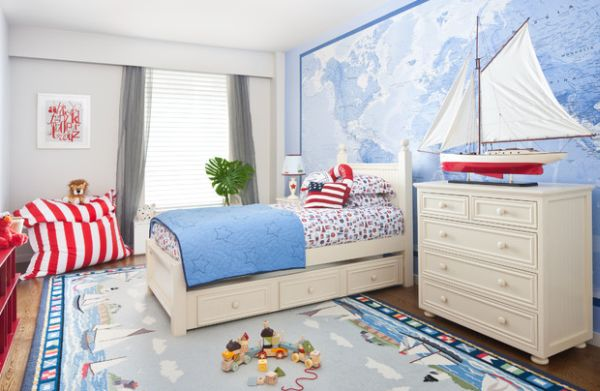 Astonishing Blue Decoration Color For Boys Bedroom Design Ideas: Sleek Astonishing Decoration Blue Color For Boys Bedroom Design Accent Fabri Nautical Themed Kids Room With Stars And Stripes Thrown In For Good Measure