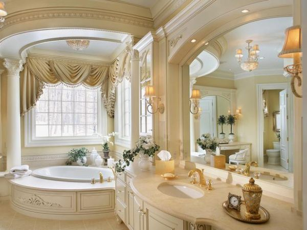 Breathtaking Bathroom Design Ideas You'll Love : Sleek Breathtaking Design Of Bathroom Ideas With Cotemporary Room Style Big Mirror Modern Dressing Table Cute Wall Lamp