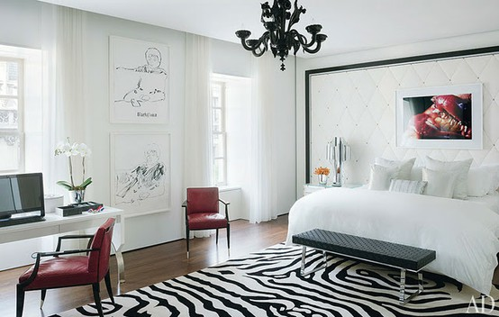 Black and White Furniture Decorating Ideas : Sleek Bright And Open Traditional Black And White Bedroom