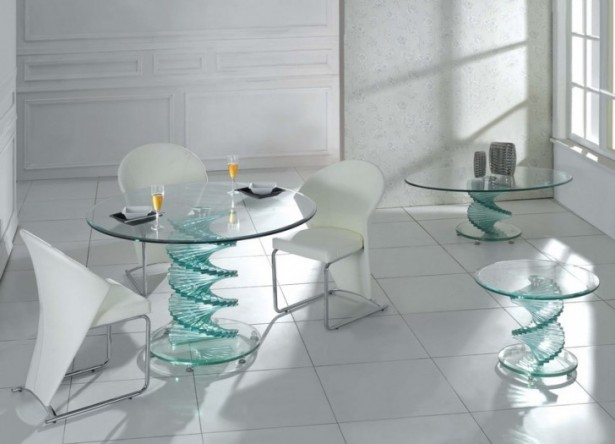 Remarkable Living Room Decoration For Small Family: Sleek Marvelous Modern Glass Dining Room Tables Sets White Marble Floor Glass Top Dining Table With Futuristic Shaped ~ stevenwardhair.com Bookshelves Inspiration