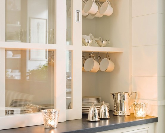 Stylish Design Of A Modern Combined Kitchen And Dining Space : Sleek Modern Kitchen And Dining Space Combined With Clean White Plate Cabinet Along The Pantry Table With A Pot Rack Is The Perfect Solution To Free Space