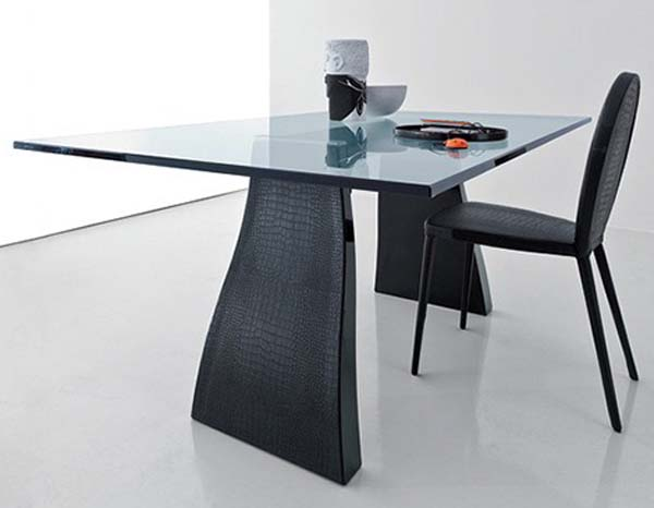 Picture Of Awesome Modern Dining Table Design: Sleek Simple Lines And Luxurious Finishes Of Glass Top Modern Dining Table Design With Faux Crocodile Skin Covered Legs Ideas