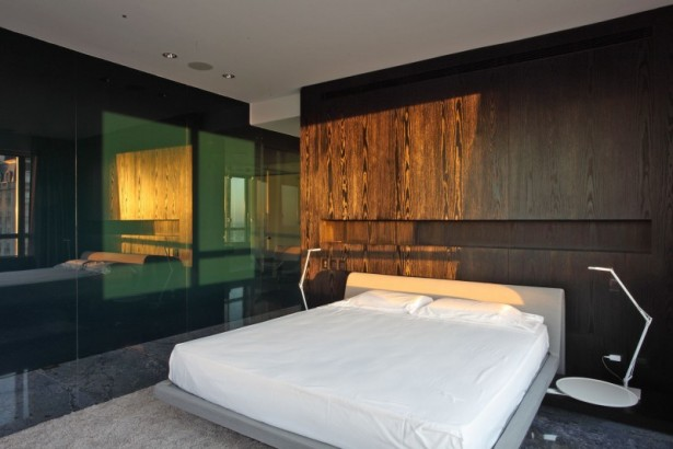 Sleek Apartment With Smart Look And Upstanding Approach: Sleek White Bedsheet With Remarkable Marble Floor Design And Glass Wall Divide And Table Lamps Wooden Wall Hidden Lamps ~ stevenwardhair.com Apartments Inspiration