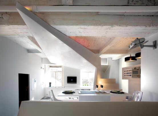 Fascinating Small Apartment Futuristic Interior Design Ideas: Small Bright Modern Apartment Design Stunning And Unique Futuristic Meshed With Industrial Look Ceiling White Palette Interior