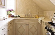 Modern Kitchen Designs for Small Spaces : Small Compact French Inspired Kitchen With Wood Finishing1