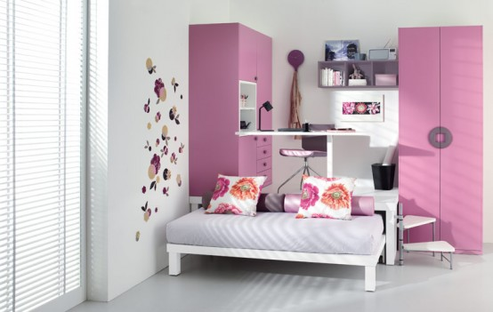 Colorful Bright Teenage Loft Bedrooms : Small Inspiring Pink Teenage Loft Bedroom With Two Pink Wardrobe And Cozy Bed With Picture Wallaper Decoration And Study Desk