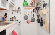 Modern Kitchen Designs for Small Spaces : Small Kitchen With Pegboard Storage1