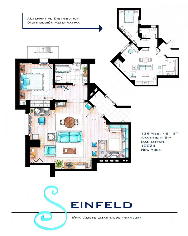 Most Famous On TV Apartments Floor Plans Ideas: Small Living Room With Couch In The Middle And Tiny Kitchen With Master Bedroom Floor Plan Of Jerry Seinfeld Apartment