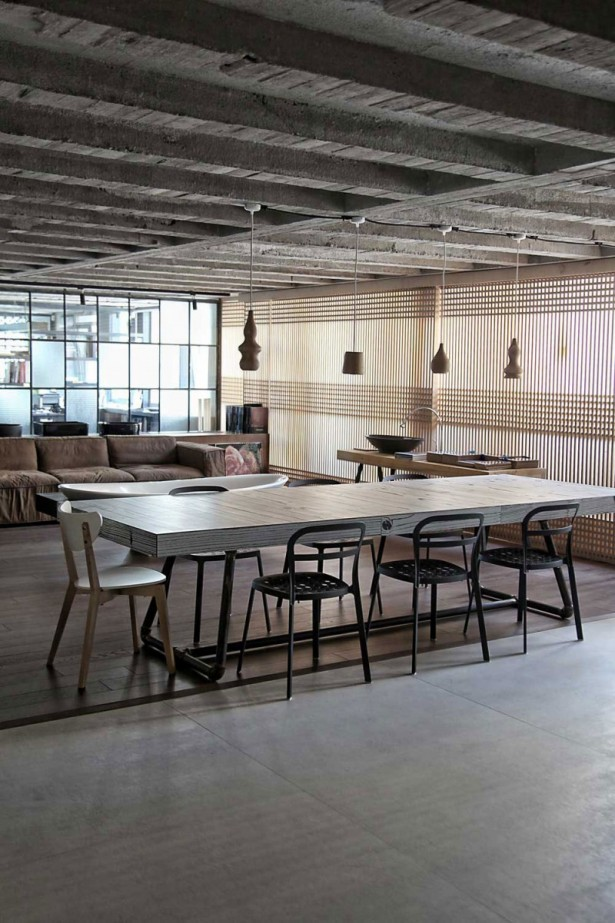 Extravagant Sleek Interior Design For A Loft: Small Pendant Lamps With Outstanding Grey Wooden Dining Table And Chairs Untreated Ceiling Inspiring Brown Sofa ~ stevenwardhair.com Design & Decorating Inspiration