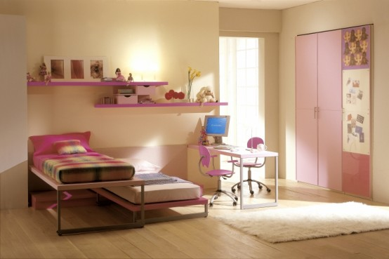Modern Ideas For Pink Girls Bedrooms: Small Simple Fun Girls Bedroom With Wooden Floor Desk Combination Pink Drawers And Oink Painted Cabinet