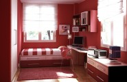 Room color ideas for teenage girls : Small Simple Sunny Fun Teen Room With Wooden Floor Desk Combination Drawers Red Painted Wall Cabinet