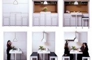 Unique Whimsical Pantry For Creating The Right Image For Your House : Small Space Built In Kitchen Pantry Foldable Dinner Table And Bench Simple Compact Unique Clean White Pallette In The Wall Unit Invisible Clever