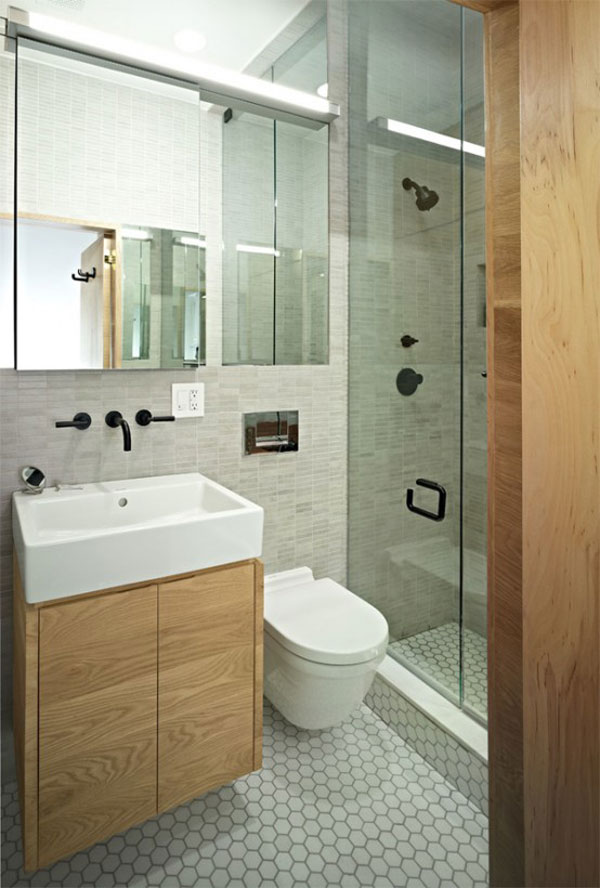 Designing Small Space Studio Apartments: Small Space Studio Apartment Design 12 Beautiful Bathroom Sink Cabinet Toilet Bowl Mirror Marble Wall Tile Flooring Ideas