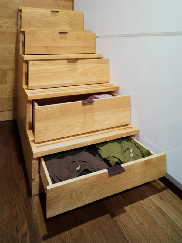 Designing Small Space Studio Apartments : Small Space Studio Apartment Design 7 Wooden Stairs Most Inspiring Drawer Ideas Storages Wooden Flooring