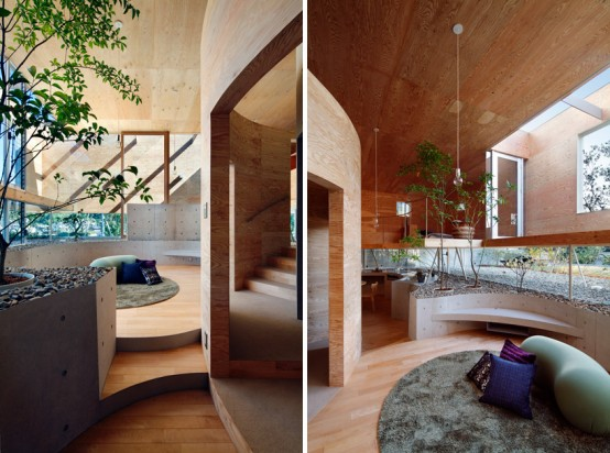 Modern Unique House Idea with Small Indoor Garden: Small Unique House Idea Indoor Huge Garden Bay Windows Colorfull Bright Cushion Round Fur Rug Laminated Floor Design Idea ~ stevenwardhair.com Architecture Inspiration