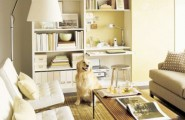Inspiration Ideas To Save Space For Tiny Room : Smart Storage Decoration Living Room Design To Save The Space With A Traditional Bookcase And Open Shelves Interior And Wooden Tea Table And White Sofa With Reading Lamp