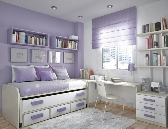 Teenage Bedroom Layouts With Interesting Ideas: Soft Pallette Lavender And White Bedroom With Comfortable Sleeping Bed And A Stylish Look Bed And Work Station Design