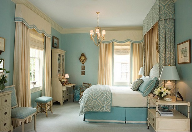 Make Your House A Home Without Spending Any Money Ideas: Sophisticated And Elegant Blue Bedroom Interior House A Home By Add Ribbon Trim On Tall Curtain Pillow Bedding Ideas With Bedside Table Lamp Ideas ~ stevenwardhair.com Design & Decorating Inspiration