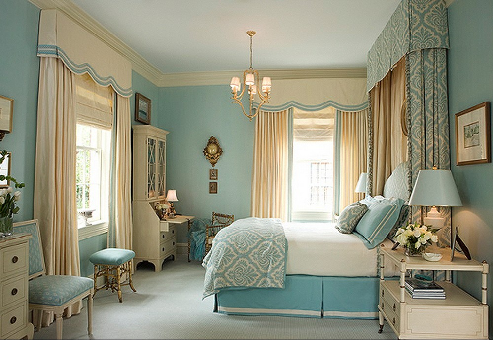 Make Your House A Home Without Spending Any Money Ideas: Sophisticated And Elegant Blue Bedroom Interior House A Home By Add Ribbon Trim On Tall Curtain Pillow Bedding Ideas With Bedside Table Lamp Ideas